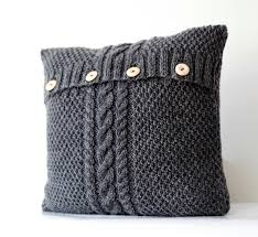 knitted gray pillow cover cable knit decorative pillows case