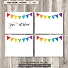 Tent Card Designs Free Editable Tent Cards And Buffet Labels Rainbow Bunting Free