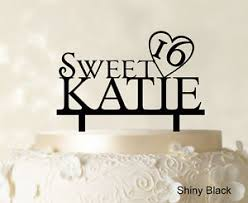 16 cake topper personalized name sweet 16 birthday cake topper mirror cake