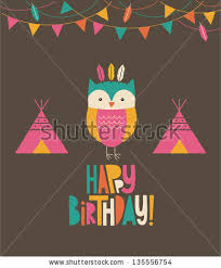 fun owl birthday card design vector stock vector 135556754