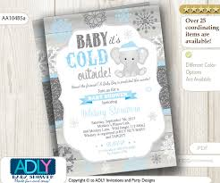 winter baby shower baby blue glitter blue elephant snowflake invitation for winter