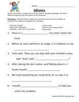 idioms worksheet worksheets teaching vocabulary and sentences