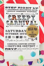 diy creepy carnival halloween invites free printable downloads