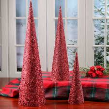 red bead and sequin cone trees table decor christmas and