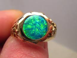 blue opal mens green opal ring 14k gold opal rings green opal and blue opal