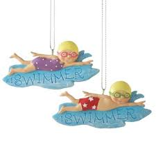 boy and swimmer ornament set of 2