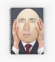 Nicolas Cage Face Meme - nicolas cage egg face swap meme spiral notebooks by memesense