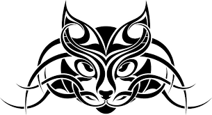black tribal cat design