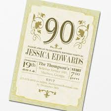 template elegant 90th birthday invitation cards free with blue