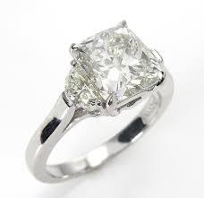 Diamond Cushion Cut Ring 3 57ct Estate Vintage Cushion Cut Diamond 3 Stone Engagement
