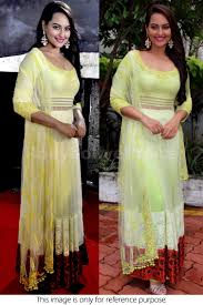pista green color bollywood style sonakshi sinha net anarkali in pista green color