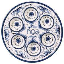 what s on a seder plate delft like ceramic seder plate the golden dreidle online store