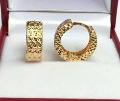 s gold earrings 18k gold hoop earrings ebay