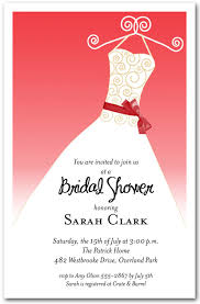 scarlet red ribbon sash on white gown invitations bridal shower