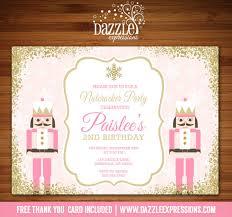 printable pink and gold glitter nutcracker birthday invitation