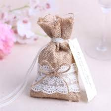 burlap party favor bags wedding gifts for guests candy bag with diy kraft tag burlap