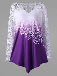 purple blouses blouses purple 5xl plus size lace yoke ombre blouse gamiss