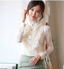 high neck ruffle blouse lace floral ruffled high neck sleeves blouse frilly