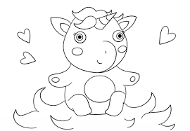 cute baby unicorn coloring free printable coloring pages