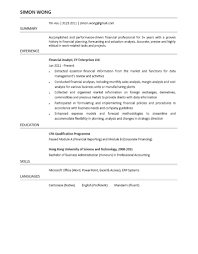 Resume For Finance Job by Resume For Financial Analyst Resume For Your Job Application