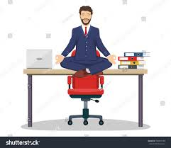 Yoga At The Office Desk Business Man Executive Manager Sitting On Stock Vector 706531768