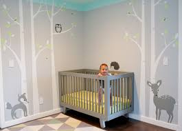 Boy Nursery Wall Decal Gray Aqua Birch Wall Decal Hupehome