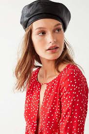 barret hat outfitters faux leather beret beret hats popsugar