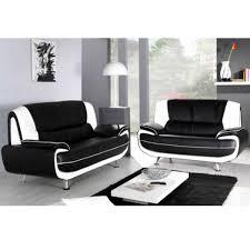 canapé 3 places blanc canapé 3 places et 2 places pvc noir et blanc palermo dya shopping fr