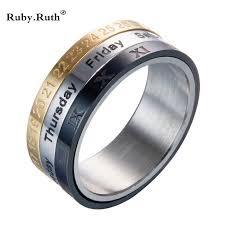 men s wedding band titanium steel tricolor calendar time wedding ring men s fashion