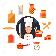 flat design concept icons of kitchen utensils with a chef cooking