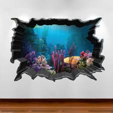 details about tropical fish aquarium 3d colour wall art sticker