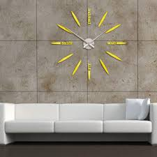home design modern art large wall clock metal sunburst decor diy