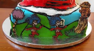 thing 1 thing 2 and lorax dr seuss baby shower cake