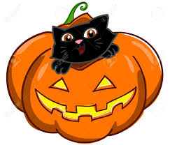halloween pumpkin with cute cartoon black cat digital illustration