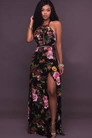sexi maxi dress black halter floral printed strappy backless slit maxi dress