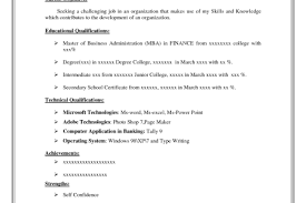 Tally Resume Sample by Sample Resume Formats Easy Download