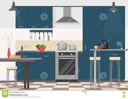 Modern Kitchen Interiors by Modern Kitchen Interior With Furniture And Cooking Devices