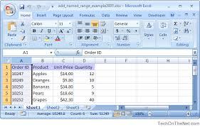 ms excel 2007 add a named range