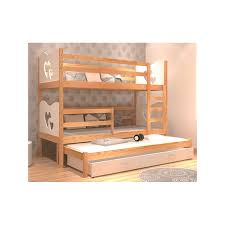 3 Person Bunk Bed Solid Pine Wood Roll Out Bunk Bed For 3 Persons 180x80 Cm But