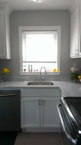 Carrara Marble Kitchen by Gray Wall White Cabinets Deep Undermount Sink Carrara Marble