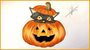 halloween pumpkin drawing a halloween pumpkin with a black cat youtube
