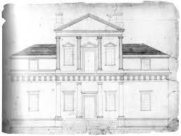 drawn bulding neoclassical architecture pencil and in color