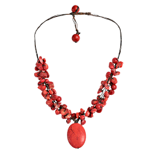 turquoise stone pendant necklace images Red clusters howlite oval pendant necklace aeravida jpg