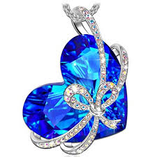 blue crystal necklace swarovski images Qianse heart of ocean necklace white gold silver jpg