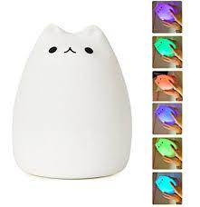 usb cat night light mystery portable silicone led multicolor night light 3 lighting