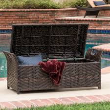 christopher knight home wing outdoor wicker storage bench