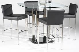 bar height glass table modern counter height dining table room 5 piece set with black
