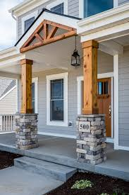 grilling porch gorgeous front porch wood and stone columns home exteriors