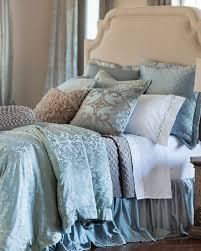 Blue Quilted Coverlet Lili Alessandra Blue Silver Jackie Bedding