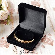 black bracelet box images Wholesale 10pcs black velvet bracelet jewelry boxes flock jpg
